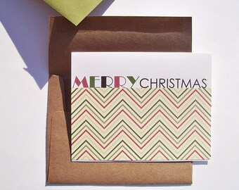 Holiday Card Set - Chevron Christmas Cards, Merry Christmas, Chevron Greeting Cards, Modern Typography Holiday Cards, Red Moss Forest Green
