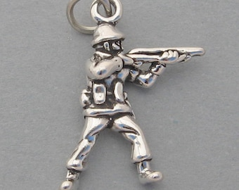 Sterling Silver 925 Charm Pendant 3D ARMY SOLDIER Military Charm 2539