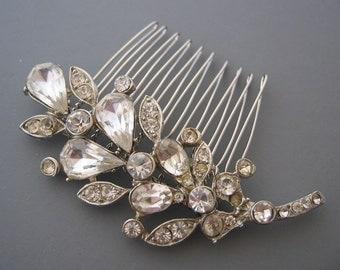 Vintage Rhinestone Leaf Comb - OOAK Silver and Clear Crystal Wedding Hair Accessory
