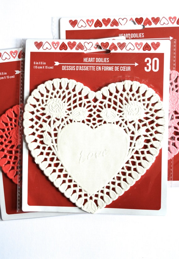 White Valentines Heart Doilies, perfect for crafting!