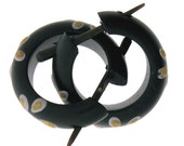 Wood Earrings - Small Black Hoops with Yellow Flower comes with extra posts