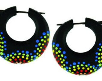 Post Earrings, Handmade, Tribal Style, Rainbow Stick Earrings - Firework Hoops