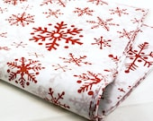 24 sheets of Tissue Paper -  RED Snowflakes Christmas paper - 15 x 20 inch 100% recycled tissue for Packaging and Gift Wrapping