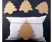 SALE - 25 diecut kraft CHRISTMAS TREE gift tags - 2 1/2 x 2 1/8 kraft brown tags - gift wrapping, stamping, holdiay gifts