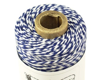 BOLD Bakers Twine 240 yard spool MIDNIGHT BLUE & White Twine String for crafting, gift wrapping, packaging, invitations