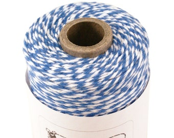 BOLD Bakers Twine 240 yard spool DENIM BLUE & White Twine String for crafting, gift wrapping, packaging, invitations