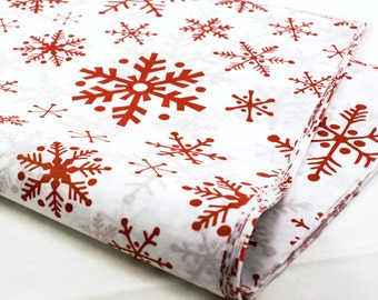 SALE - 24 sheets of Tissue Paper -  RED Snowflakes Christmas paper - 15 x 20 inch 100% recycled tissue for Packaging and Gift Wrapping