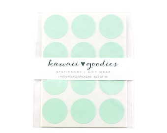 36 Mint Green circle stickers - 1 inch round light green labels - FREE SHIPPING