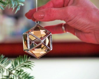 Christmas Tree Ornament, Peach Champagne Glass Crystal Geometric Christmas Ball Decoration, 3D Stained Glass Globe Suncatcher