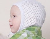 Baby Pilot hat, hearing aid hat with mesh, white mesh hat, hat with ties, baby cap, toddler hat, baby clothing, summer hat, baby bonnet