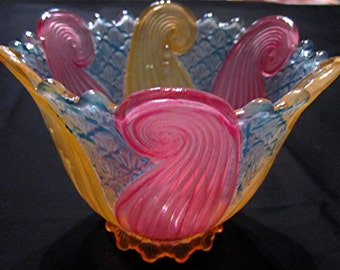 Vintage Hand Painted Glass Chandelier Shade Candle Holder/Pink-Orange/Aqua/Art Deco Design