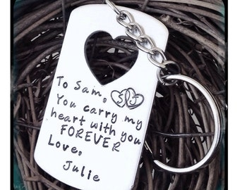 Personalized Hand Stamped Carry You In My Heart necklace