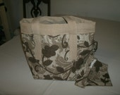 Small Upholstery Fabric Free Standing Tote with Clip On Cell Phone Pouch
