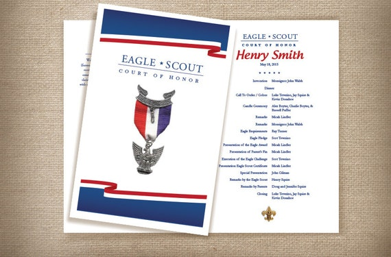 Red white blue eagle scout court of honor coordinating for Eagle scout court of honor program template
