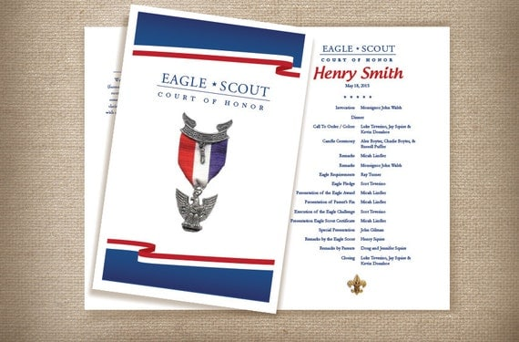 eagle scout court of honor program template - red white blue eagle scout court of honor coordinating