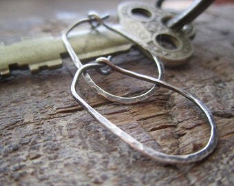 Hammered Small Sterling Silver 'Stirrup' Hoop Earrings.