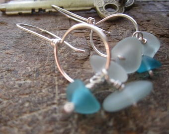INVENTORY REDUCTION SALE  - Icy Mix - Sterling Silver Earrings with blue 'sea' glass beads.