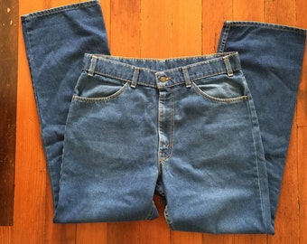 vintage levis 207 straight leg skosh more comfort orange tab faded blue jeans soft stretch