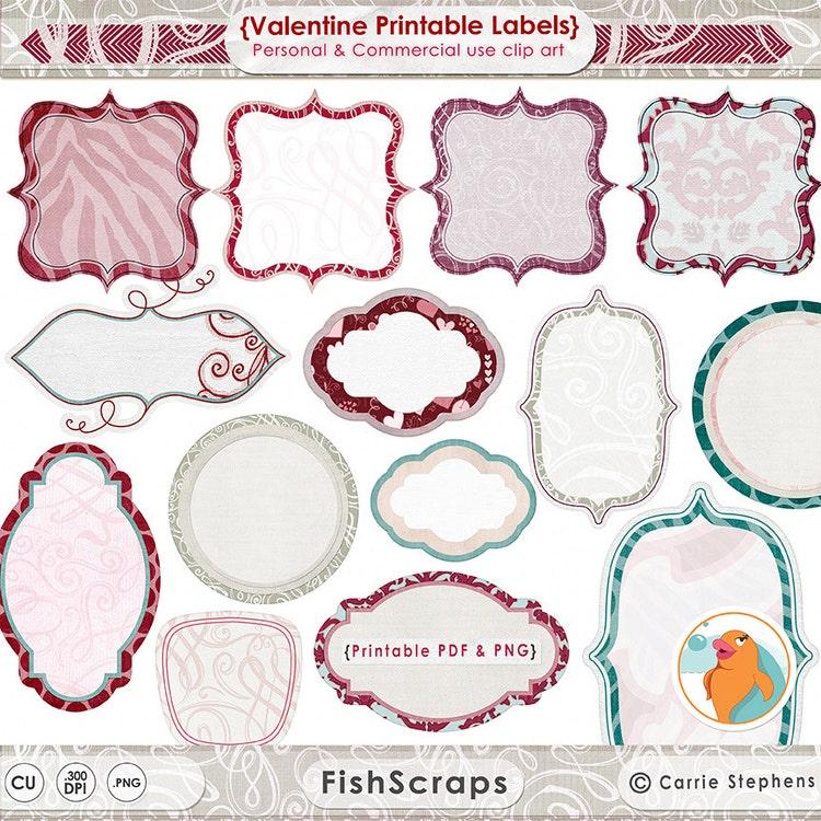 Valentine labels printable label clipart scrapbook by fishscraps