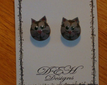 Gray Cat Post Earrings