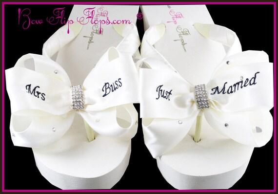 just married flip flops mrs wedge bridal flip by. Black Bedroom Furniture Sets. Home Design Ideas