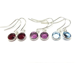 Choose Your Month- Birthstone Earrings- Sterling Silver Ox Finish- Swarovski Silver Channel Birthstone EarringsBlack Friday Sale 20% Off