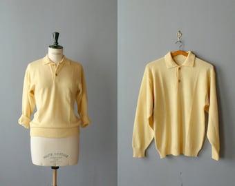 Vintage 1970s yellow sweater. deadstock grandpa sweater