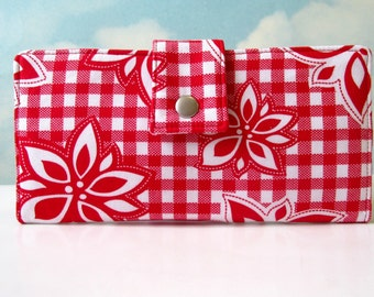 SALE - Handmade women wallet - red and white floral -  checker - plaid - ID clear pocket - Ready to ship