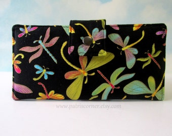 Handmade wallet for woman - Colorful dragonfly gold dream - Gold metallic details - cotton clutch purse - gift for her