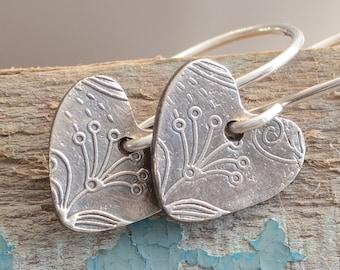 Fine Silver Heart Earrings Botanical Garden Heart Charm Earrings with Handmade Sterling Silver Ear Wires Simple Classic Jewelry