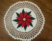 Hand Crocheted Poinsettia Doily
