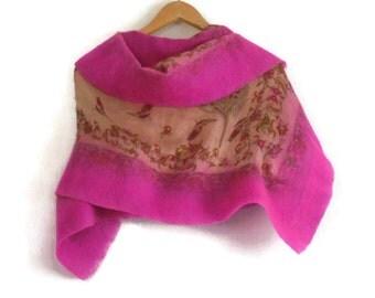 nuno felted silk shawl, pink