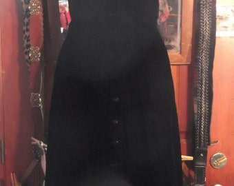 1950s Black Velvet Full Dress, sz petite