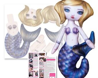 Sandy Azure - Printed Cloth Mermaid Doll Pattern - DIY Darling