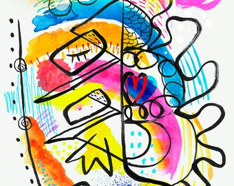 You make me laught, bright abstract shapes print