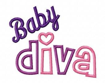 Baby Diva Digital Embroidery Machine Applique Design 10826