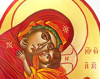 Virgin Mary with Christ child - orthodox icon original painting - 8 by 6 inches - MADE TO ORDER