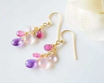 Pink & Purple Briolette Cluster Teardrop Earrings