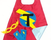 3 Piece Super Hero Cape Set - PERSONALIZED SUPEHERO Costume - Choose the Initial - Includes Cape + Bolt Mask + Power Gloves - Kids Gift