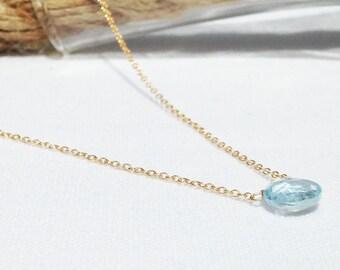 Blue Topaz Necklace - Gold Blue Topaz Necklace - December Birthstone - Dainty Necklace