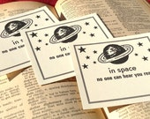 In Space, No One Can Hear You Read - Handmade Letterpress Bookplate - Set of 10