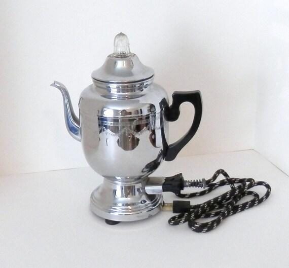 Farberware Coffee Pot Electric Cord : Vintage Farberware Chrome Coffee Pot with Cloth Cord and