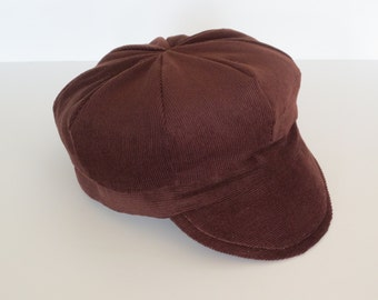 Baby Newsboy Cap Baby Newsboy Hat Brown Corduroy Baby Hat