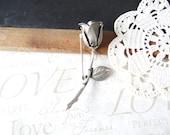 THORN vintage silver rose stem brooch flower pin A20 | flower | bloom | wedding dress accent | sash | bouquet | silver | rose | pewter