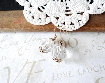 GLENDA vintage crystal dangle earrings (gold)