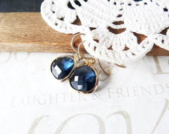 AHOY sailor navy colored cut glass crystal earrings B4 (gold) | midnight | bridesmaids | navy blue gold