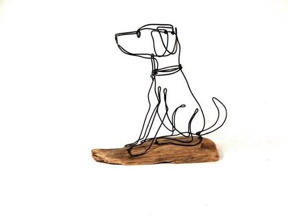 Dog wire sculpture folk wire art dog sculpture 223631343 for Dog wire art