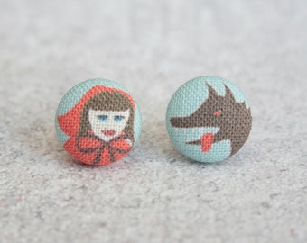 Little Red Riding Hood, Fabric Covered Button Earrings