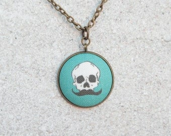Teal Mustache Skull, Fabric Button Pendant Necklace