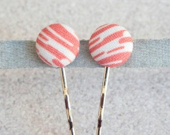 Bacon, Fabric Covered Button Bobby Pin Pair